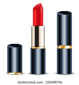 Red lipstick closed and open. Isolated vector illustration.