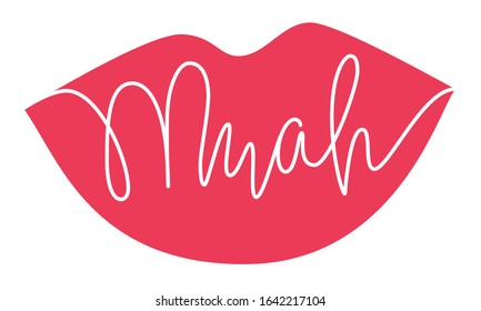 red lipstick kiss - muah calligraphy