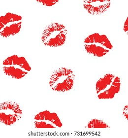 Red lipstick kiss on white background. Vector flat illustration for design. Printing of the lips.