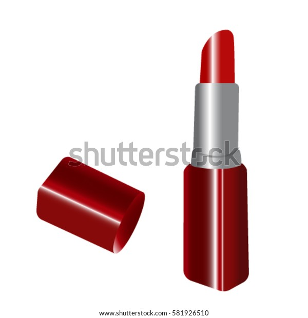 red lipstick on white background, vector illustration