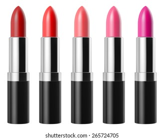 Red lipstick set isolated on white background, RGB vector created with gradient mesh