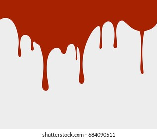 Red liquid drips, flows on the wall. vector illustration