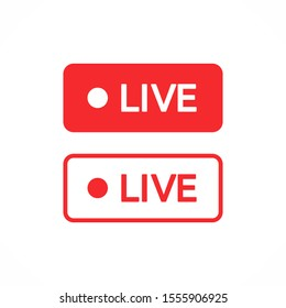 Red live buttons on a white background. Live symbol, badge, sign, label, sticker template. Social media concept. Vector illustration. EPS 10