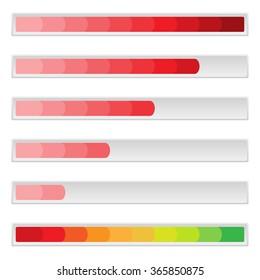 Red loading bar, progress or charging indicator.