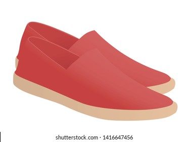 Red loafer shoes. vector illustration