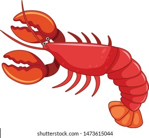 Red Lobster cartoon vector and illustration