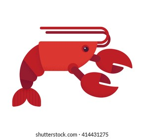 Red lobster flat vector illustration. Geometric cartoon style.