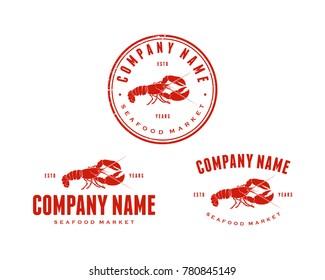 Red Lobster Food Vector Animal Vintage Logo Company Symbol Set for Restaurant