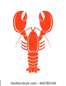 Red lobster. Isolated logo on white background. Vector illustration