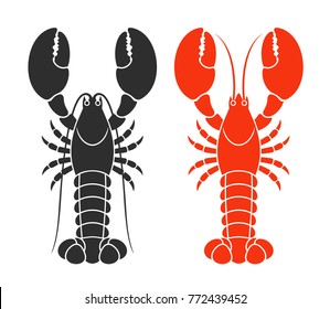 Red lobster. Isolated lobster on white background. EPS 10. Vector illustration