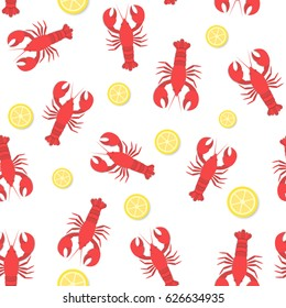 red lobster and lemon flat seamless pattern