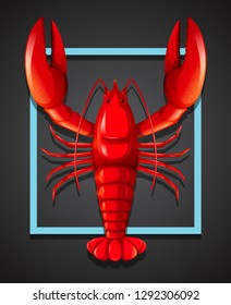 A red lobster on black template illustration