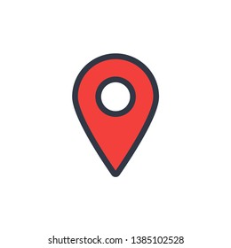 Red location tag vector icon