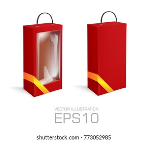 Red long Cardboard box with hole, golden ribbon, transparent plastic window isolated on white background. Product package template. Vector illustration