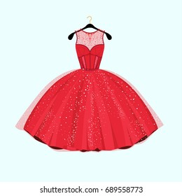 Red long dress. Dress with rhinestones. Fashion vector illustration