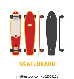 Red longboard skateboard bottom, top and side view. Vector skateboarding deck in flat and outline design.
