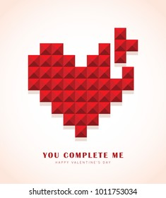 Red love or heart shape in 3D pixel art isolated on pink background. Valentines day icon. You complete me. Flat vector illustration.