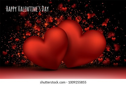 Red Love Romantic Hearts. February 14. Valentines day card banner Global love day Three Dimensional shapes. Vector Illustration. Abstract Love Background.