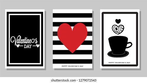 Red love. Set of Valentines card. Vector illüstration. Fore notebook covers, cards, t-shirts...