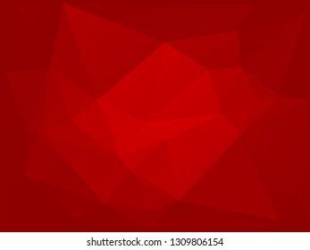 Red low poly background. Big triangles pattern, modern design. Geometric gradient background, origami style. Polygonal mosaic template with place for content. Vector illustration, geometric style.