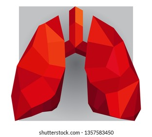 Red low poly human lungs design