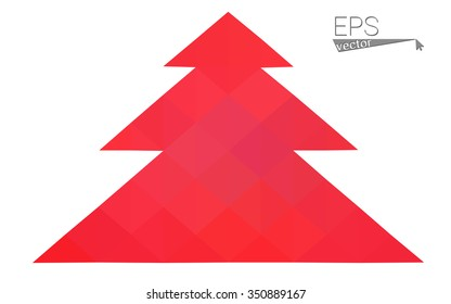 Red low polygon style christmas tree vector illustration consisting of triangles . Abstract triangular polygonal origami or crystal design of New Years celebration. Isolated on white background.