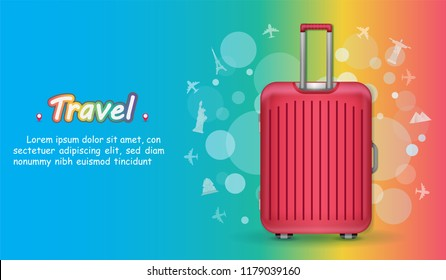 Red luggage and Airplane aerial with check in point travel around the world concept on Background. Top world famous landmark.  blank space for text and content paper art, vector, banner, Poster,
