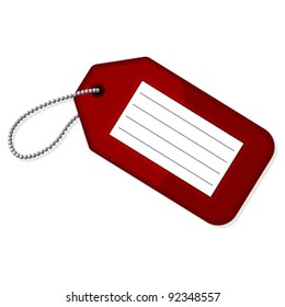 Red luggage tag with copy space over white background