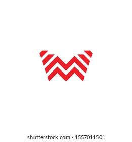 Red M Letter Fitness Sport Logo Design Vector