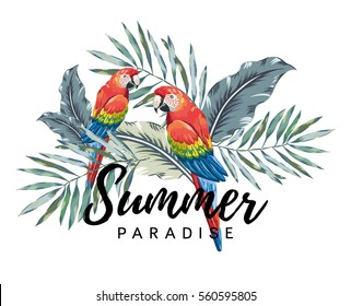 Red macaw parrots with palm leaves on the white background. Tropical illustration with birds. Print for tee shirt with message Summer paradise.