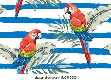 Red macaw parrots with palm leaves on the nautical striped background. Vector seamless pattern. Tropical illustration with birds.
