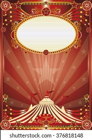 Red magic circus background. A beautiful circus poster for your entertainment
