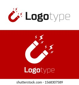 Red Magnet with lightning icon isolated on white background. Horseshoe magnet, magnetism, magnetize, attraction sign. Logo design template element. Vector Illustration