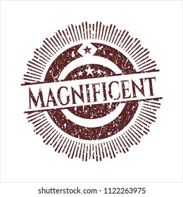 Red Magnificent distress rubber stamp with grunge texture