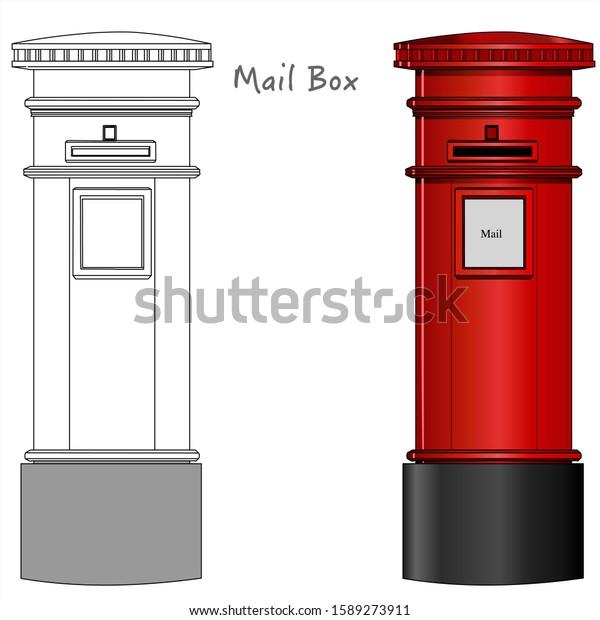 Red Mail Box British London Postbox Stock Vector Royalty Free 1589273911