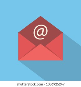 Red mail sign icon or envelope icon on a blue background for website design in flat style. Newsletter icon, message icon with shadow. Vector illustration, eps10