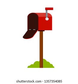 Red mailbox on a stick. Communication between people. Place for envelopes, correspondence. The work of the post office. Send mail. Cartoon flat illustration