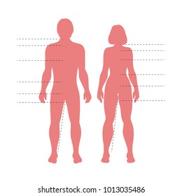 Red man and woman body silhouettes with pointers. Vector human figures for fashion, medical or science need.