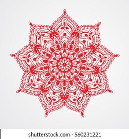 Red Mandala On White Background Hand Drawn Vector Illustration Islamic Arabic Indian
