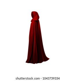 Red mantle, cloak, cape. Vector illustration.