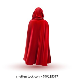 Red mantle, cloak, cape. Vector illustration.
