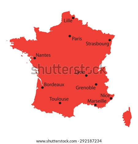 City Map Of France.Red Map France Indication Biggest Cities Stock Vector Royalty Free