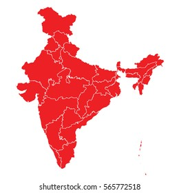 Red map of india
