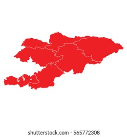 Red map of kyrgyzstan
