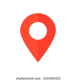 Red map marker icon, map pin, GPS location symbol, vector illustration