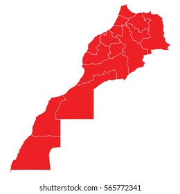 Red map of morocco