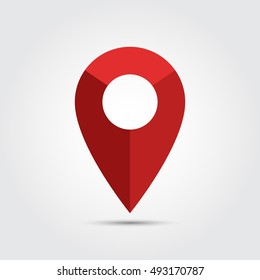 Red map pointer icon on gray gradient background. Vector illustration eps 10.