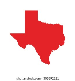red map. texas map. texas icon