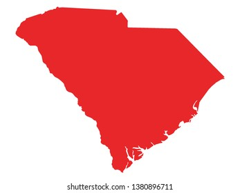 Red Map of US Federal State of South Carolina
