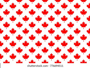 Red maple canada seamless pattern. Vector and Illustration.
